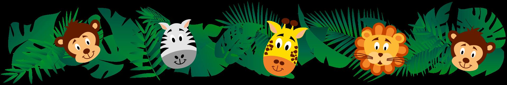 Pflanzen und Blätter. Tierköpfe, Affe, Löwe, Giraffe, Zebra